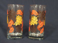 Pair of Fall Leaves Drinking Glasses Clear w/ Leaves painted browns, orange