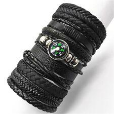 10pcs/set Black Wrap Woven New Fashion Handmade Men Bracelets Male Women Leather