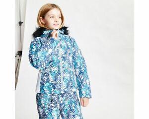 Dare 2B Girls' Far Out Waterproof Fur Trim Hooded Ski Jacket - Blue Ceramic