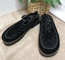 Original Rugged Outback Women's Black Suede Dual Buckle Sandals Shoes 9.5 VGC