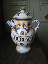 Ancien pot couvert pichet à pharmacie Thériaca Thériaque Vichy santé signé Tess.