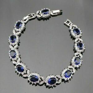 "Stunning Silver Blue Sapphire & White Topaz 11ct Tennis Bracelet Adjustable 7-8"""