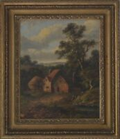 19th Century English School Oil on Board Figures in a landscape indist. signed