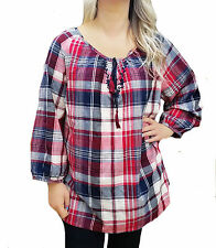 Checked Long Sleeve Casual Blouses for Women