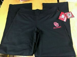 NWT $40 Colosseum OU Oklahoma Sooners Black Studio workout Lounge Pants Jrs S L
