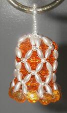 "Christmas Tree ORNAMENT Faceted Beaded Beads Bell HandmadeFaux Pearls 2"" Orange"