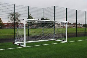 Pair of 16x7 9v9 Football Goals - Freestanding - Portable - Wheeled - Free P&P