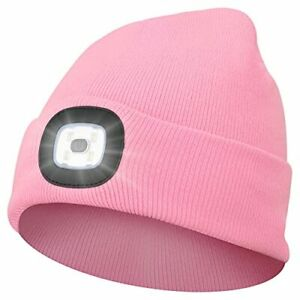 Beanie Hat with Light Winter Knit Lighted Headlight Hats USB Rechargeable Pink