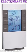 DIGITAL ALARM CLOCK WEATHER FORECAST STATION TIME DATE HUMIDITY TEMPERATURE