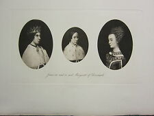 1907 PRINT ~ JAMES III JAMES IV ~ MARGARET OF DENMARK