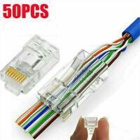 50pcs CAT6 Shielded EZ RJ45 Pass Through Modular Plug Cable Connector End 8P8C