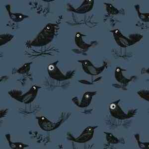 Bolt End Dashwood Studios Full Moon Halloween Raven Birds 100% Cotton Fabric