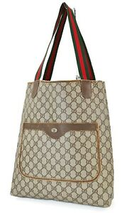 Authentic Vintage GUCCI Brown GG PVC Canvas and Leather Tote Bag Purse #39862A