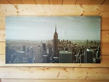 Large New York City Skyline 1970s Manhattan B&W  Canvas Wall Art Picture Print