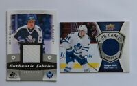 MARGAN RIELLY BORJE SALMING GAME USED JERSEY CARD LOT 2 MAPLE LEAFS UPPER DECK