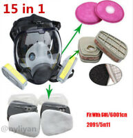 15PCS Painting Spraying Gas Mask Full Face Facepiece Respirator Similar For 6800