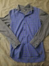 Fred Perry Mens Button Front Plaid Shirt Cotton Blue Sz XS