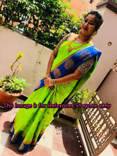 Beautiful Saree Indian Ethnic Balaton Tussar Silk Peacock Chakra Designer Sari