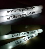 50 Personalized Foam Sticks Flashing White LED Wands Light Up Custom Batons Glow