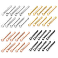 10/40Pcs Set Fashion Stainless Steel Barbell Bar Nose Ring Stud Body Piercing