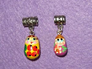 Charms Beads Hand painted 2 Yellow Lilac RUSSIAN DOLLS EUROPEAN Snake Bracelet