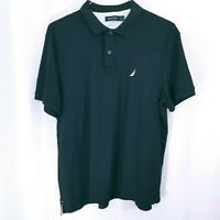 Nautica Mens Short Sleeve Collared Button Down Polo Shirt Black Size Large
