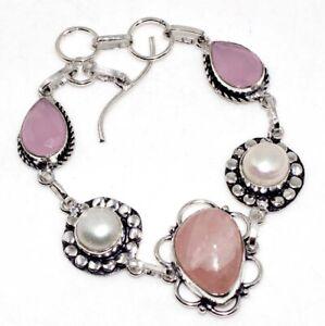 "Rose Quartz Pink Chalcedony 925 Silver Plated Bracelet 8"" Jewelry GW"
