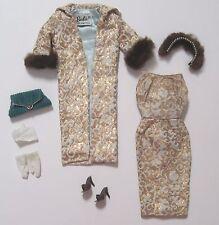 Vintage Barbie 961 EVENING SPLENDOUR Tagged Outfit N/C W/Hankie & Fluffy Fur Hat