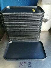More details for no3      5 x black plastic food serving trays  410mm x 240mm x 20mm...