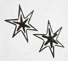 Fabulous Art Moderne Black & White Enamel Star Pierced Earrings 1980s vintage