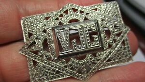 STERLING SILVER 925 ESTATE VJG MARCASITE CABLE FILIGREE 2 INCH WIDE PIN BROOCH