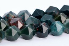 7-8MM Dark Green Blood Stone Star Cut Faceted AAA Natural Loose Beads 15""