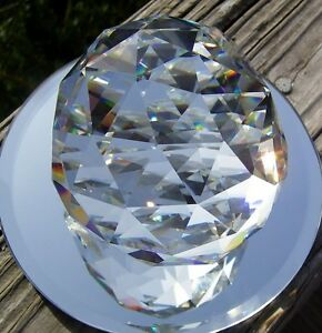 HUGE 80 MM FACETED LEAD CRYSTAL PRISM -OPTICALLY PURE-RAINBOWS-FREE SHIPPING
