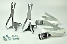 New Atozi Bicycle Pedal Steel Toe Clip and Leather Straps Set Medium - White