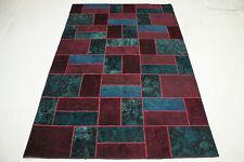 Vintage Patchwork Orient Tapis rouge bleu moderne 310x200 à la mode Used Look