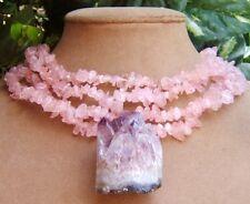 AMETHYST CRYSTAL purple lavender DRUZY PENDANT pink ROSE QUARTZ NECKLACE BIG
