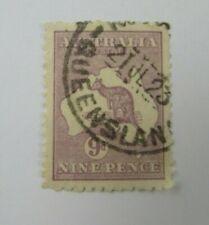 1915  Queensland Australia  SC #50 Kangaroo Map   Nine Pence used stamp