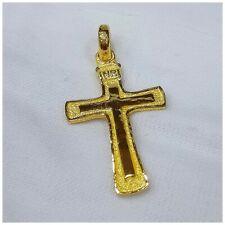 24k Solid Gold Cross Pendant by estherleejewel