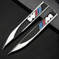 2x BMW M Sport Black Fender Badge Side Wing Metal Sticker Badge 3D Logo