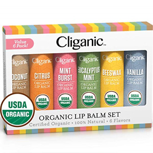 Cliganic USDA Organic Lip Balm Set - 6 Flavors - 100% Natural Moisturizer for &