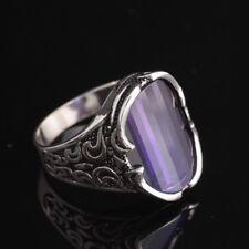 Turkish Handmade Jewelry 925 Sterling Silver Amethyst Men's Ring Size 7,8,9,10