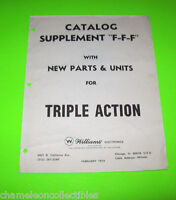 TRIPLE ACTION By WILLIAMS ORIGINAL PINBALL MACHINE PARTS CATALOG SUPPLEMENT ONLY