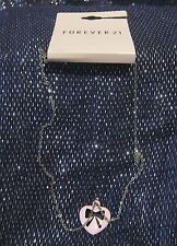 Fantastic silver tone metal chain with heart shaped pink pendant with bow