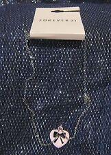 Fantastico Catena Metallo Tono Argento con Ciondolo Rosa a Forma di Cuore con fiocco
