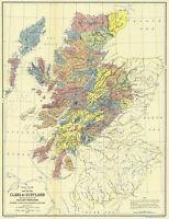 1899 Map Clans of Scotland 1587-1594 Scottish Locations Landowner Highland Print