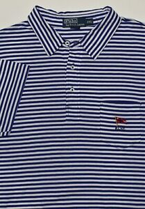 New $79 Polo Ralph Lauren Lightweight Blue Striped RLYC Cotton Pocket Polo / 2XL
