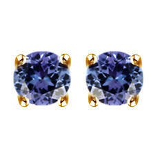 Blue Tanzanite Solitaire Stud Earrings 10k Solid Yellow Gold