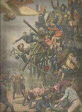 K0909 A Parigi crolla impalcatura,per la troppa folla, in un carosello - Stampa