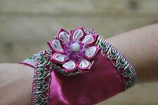 Beaded Women Wrist Purse -Pink Wrist wallet-Wristlet-Cuff wallet-Purse Satin