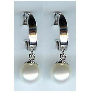14K Solid White Gold White Cultured Pearl Huggie Earring. New E1828-1
